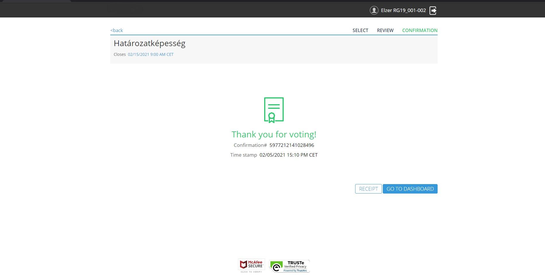 Online internetes szavazás